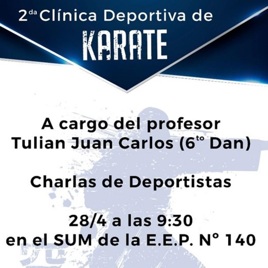 EL ÁREA DE DEPORTES MUNICIPAL COORDINARÁ CLÍNICA DE KARATE EL 28 DE ABRIL EN EEPN°140