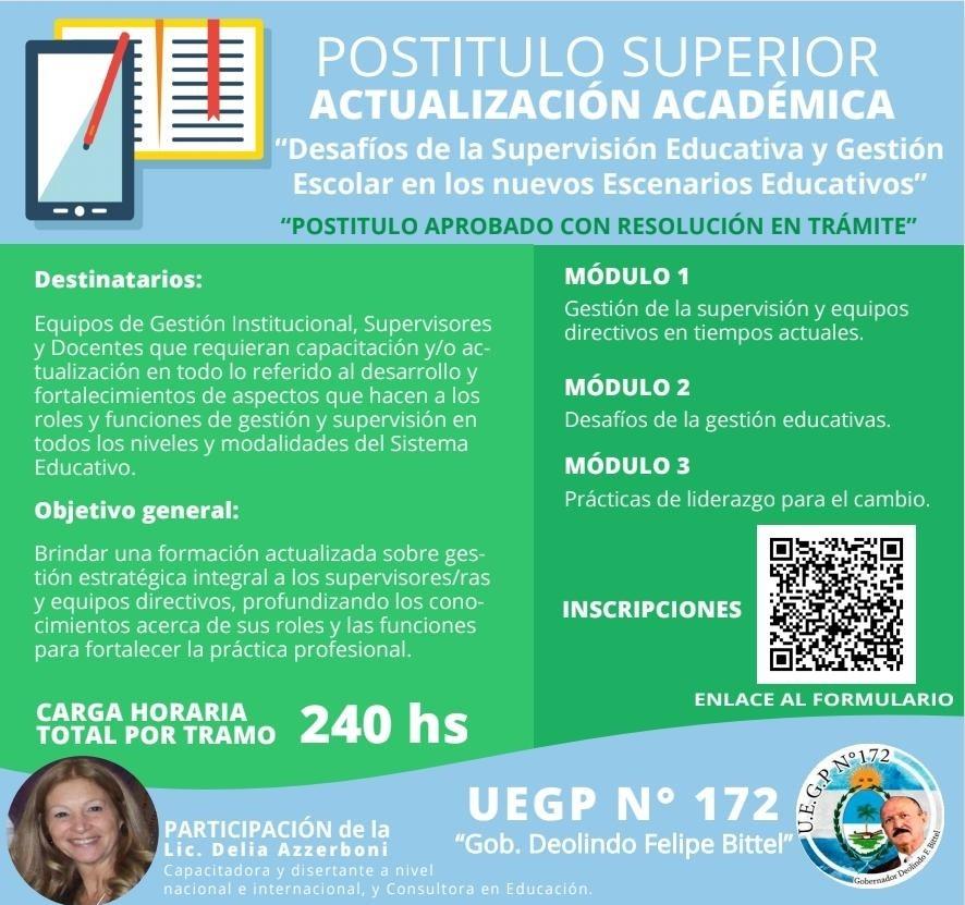 LA UEGP N° 172 ABRE INSCRIPCIÓN PARA LA TECNICATURA EN ELECTROMECÁNICA Y EL POSTÍTULO DE SUPERVISIÓN EDUCATIVA Y GESTIÓN ESCOLAR
