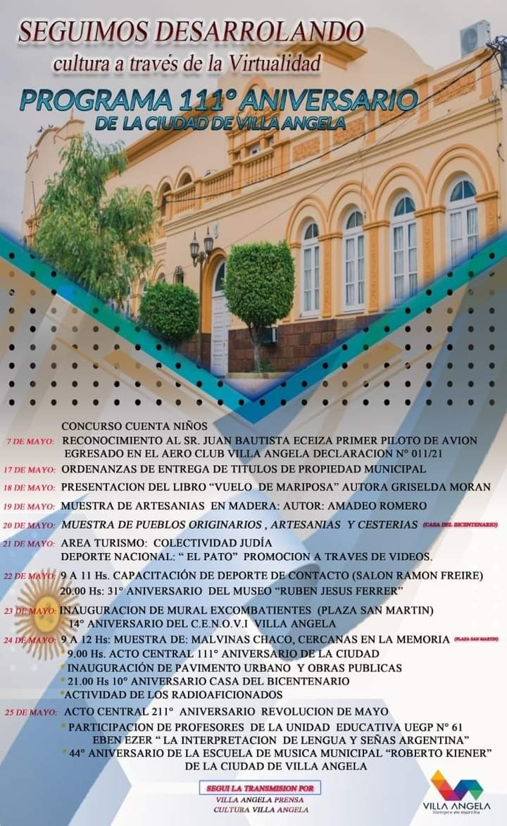 LA SECRETARÍA DE CULTURA DEL MUNICIPIO DIFUNDIÓ EL PROGRAMA VIRTUAL DEL 111° ANIVERSARIO DE VILLA ÁNGELA