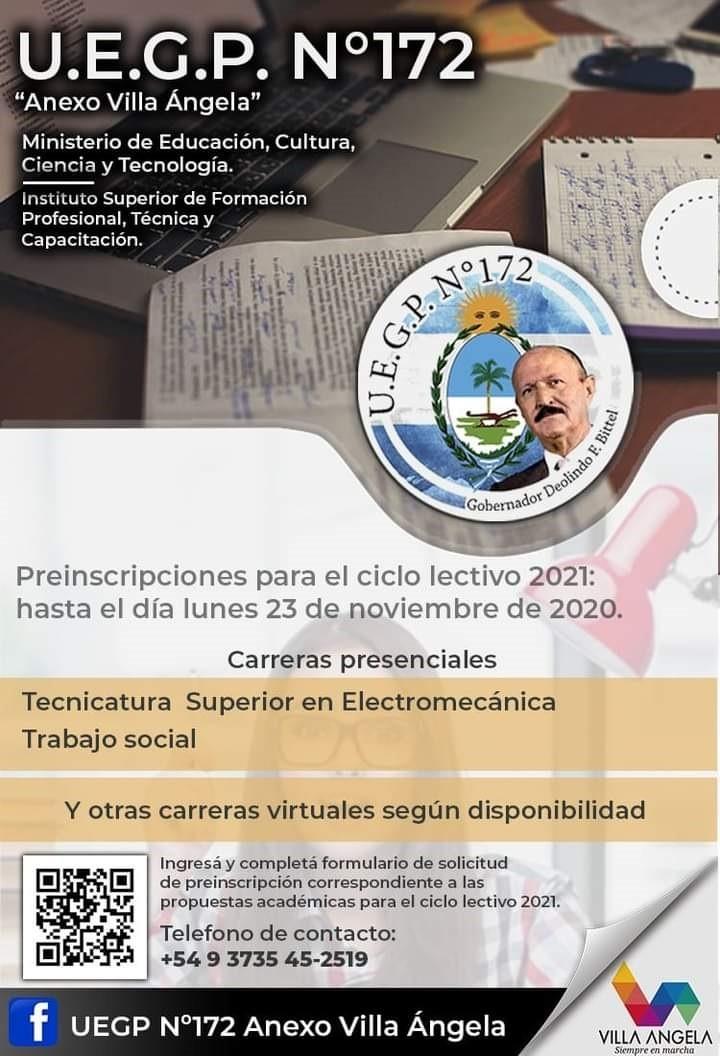 PREINSCRIPCIÓN ABIERTA PARA CARRERAS GRATUITAS Y PRESENCIALES DE LA UEGP N°172