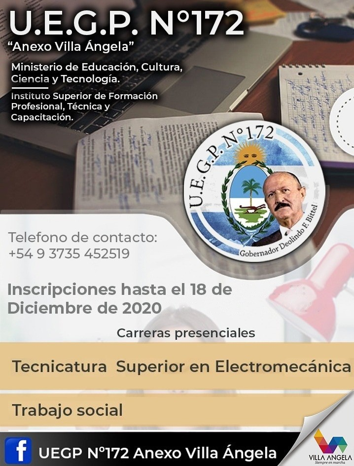 EL MUNICIPIO INVITA A INSCRIBIRSE A LAS CARRERAS DE TRABAJO SOCIAL Y TECNICATURA EN ELECTROMECÁNICA DE LA UEGP N° 172