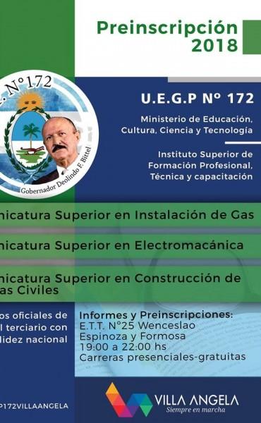 """SE ENCUENTRAN ABIERTAS LAS INSCRIPCIONES EN LA UEGP N°172 """"GOBERNADOR DEOLINDO FELIPE BITTEL"""""""