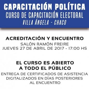 INVITAN A CAPACITACIÓN ELECTORAL GRATUITO CON PROFESIONALES DE NACIÓN EN LA MUNICIPALIDAD DE VILLA ÁNGELA
