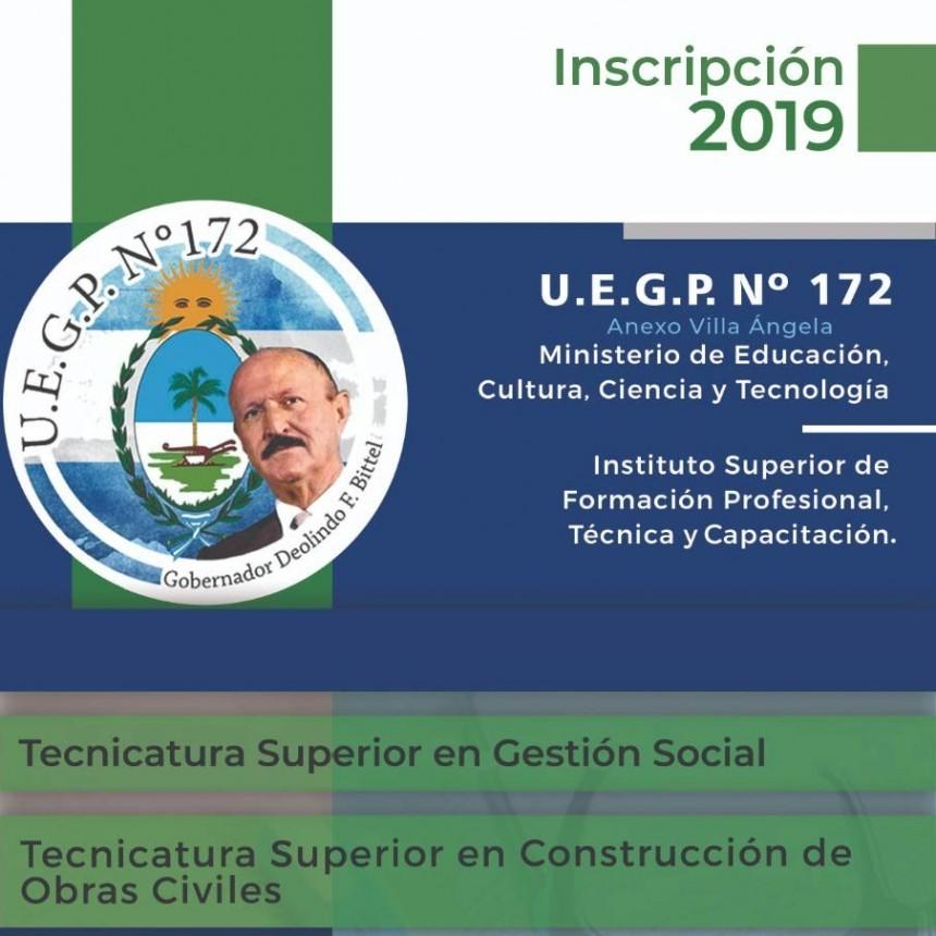 Inscripciones abiertas para las tecnicaturas de la UEGP N° 172 Anexo Villa Ángela